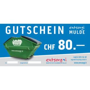 Gutschein entsorgi Mulde CHF 80.00