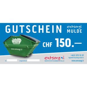 Gutschein entsorgi Mulde CHF 150.00