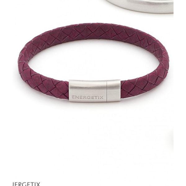 Armband von ENERGETIX aus dunkelrotem Leder mit Edelstahl