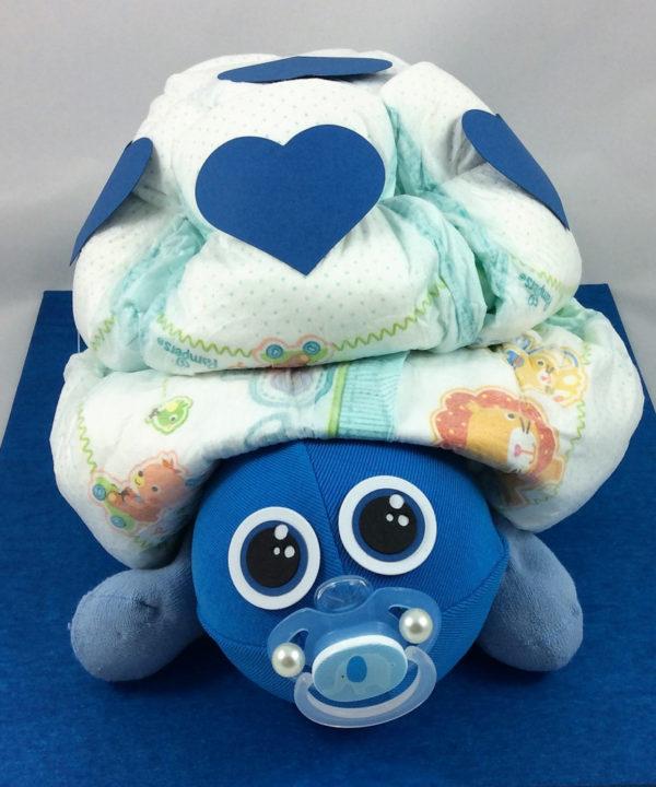 Adrette Windel-Schildkröte, eines der tollen Geschenke zur Geburt oder Taufe fürs Baby