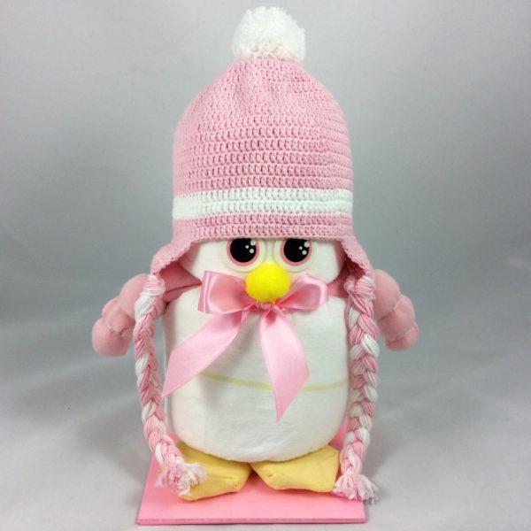 Adliger Windel-Pinguin, eines der tollen Geschenke zur Geburt oder Taufe fürs Baby