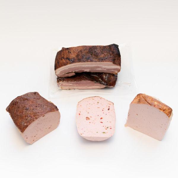 Schwarzwaldspeck, Fleischkäse Ross, Fleischkäse Paprika, Fleischkäse normal