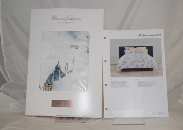Christian Fischbacher Bettwäsche Satin Weltenbummler mit Reissverschluss, 100 % Baumwolle,Grösse 160 x 210 cm und 65 x 100 cm