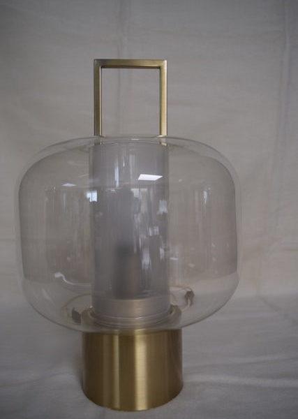 Glaslampe Messing bronziert, Höhe 45 cm, Durchmesser 30 cm
