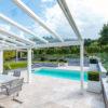 Terrassendach aus Aluminium-Profilen in einer Standardfarbe pulverbeschichtet Inkl. Verglasung mit VSG 13 mm (Klarglas)